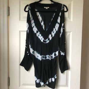 Boston Proper Tie Dye Black Cold Shoulder Sweater